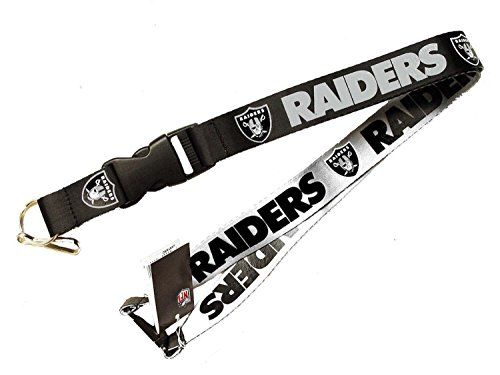 NFL Oakland Raiders Reversible Lanyard  Product: Reversible Lanyard.  Color: Has two sides & can be worn either way.  Many Uses: Photo Id Ticket Holder.  Brand: Officially Licensed NFL Product.  Size: 23 inches top to bottom.  This 24-inch Reversible Lanyard has a detachable key ring  The lanyard comes in team colors with team logos  Your favorite team can be displayed where ever you go