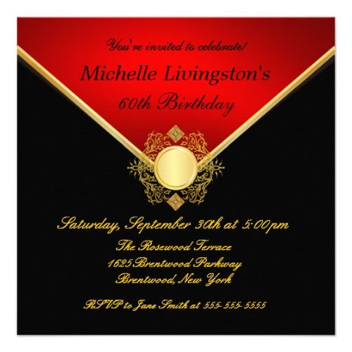 Best Red And Black Themed Birthday Ideas Images On Pinterest - Red and gold birthday invitation templates