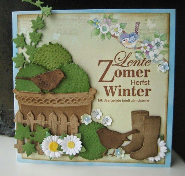 Card made by DT member Boukje with among others Collectables Flower Pot (COL1345), Birds (COL1311) and Creatables Boots and Buxus (LR0316) by Marianne Design