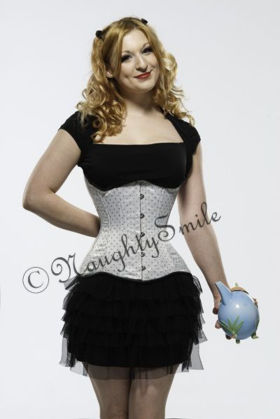 This silver polka dot waist training corset (NS-426 )is a 100% authentic corset that reduces waistline by up to 4 inches, and flattens the t... Email:  shyamth3@gmail.com