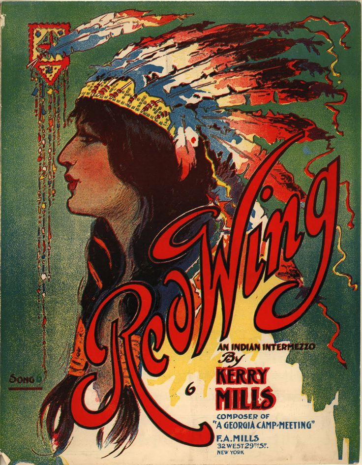 Vintage Ephemera: Sheet music cover, Red Wing - 1907