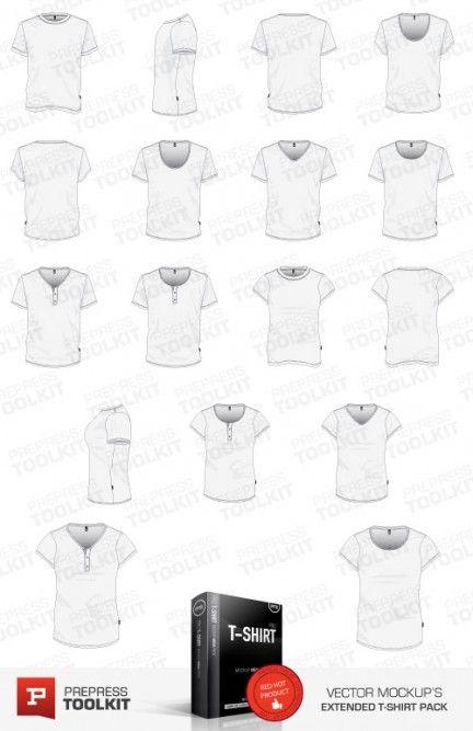 vector T-Shirt Template Illustrator eps psd v-neck round scoop button mens womens t-shirt
