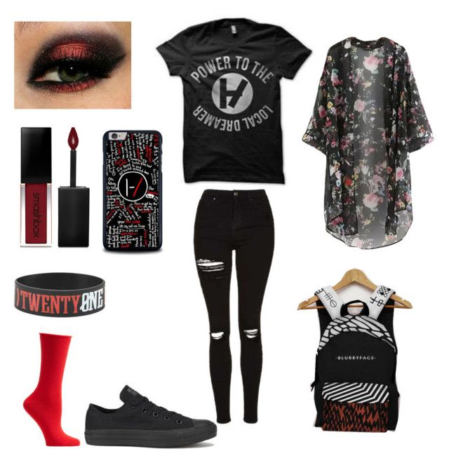 """""""Twenty one pilots clothing"""" by leahlocket23 on Polyvore featuring Converse, Topshop, Smashbox and Ozone"""