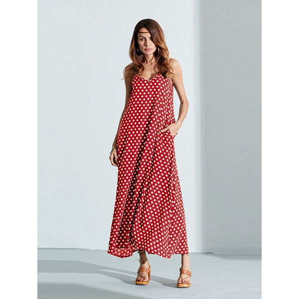 Sexy  Sleeveless Strap Polka Dot Backless V Neck Summer Beach Dress ($15) ❤ liked on Polyvore featuring dresses, summer dresses, sexy summer dresses, long sleeve dress, long beach dresses and sexy backless dresses