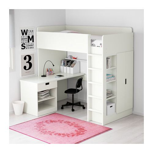 STUVA ロフトベッドフレーム デスク&収納付き(引き出し×1/扉×2) - ホワイト - IKEA