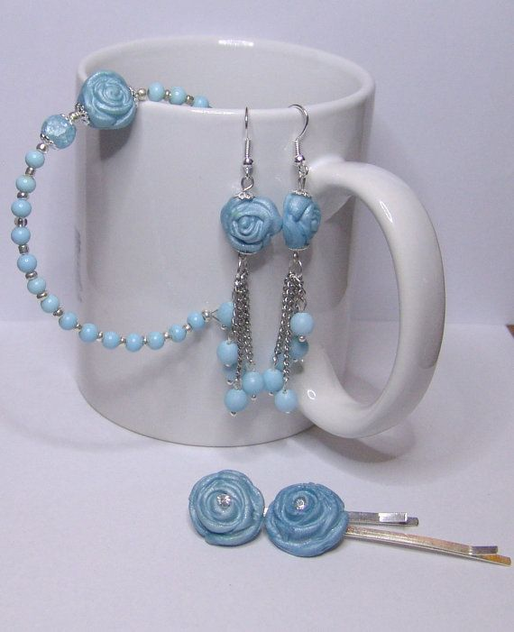 BABY BLUE  Earrings Hairpins Bracelet by 1000and1 on Etsy, €12.00