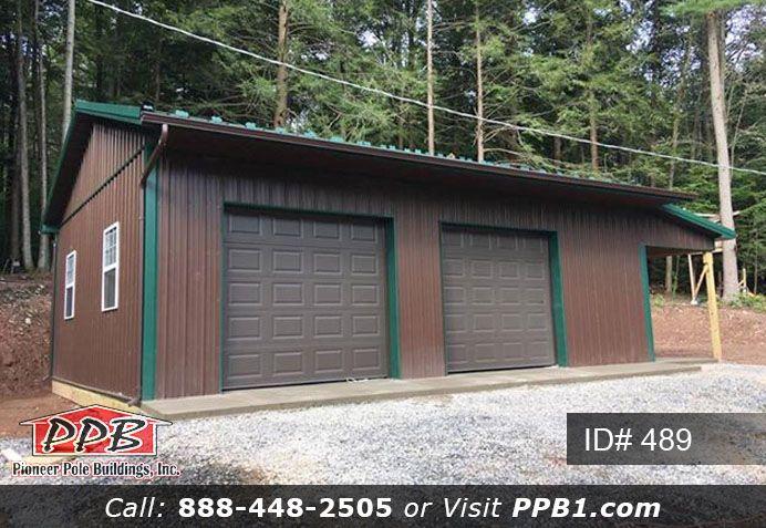 Garage With Green Trim Garage Garage Design Pole Buildings