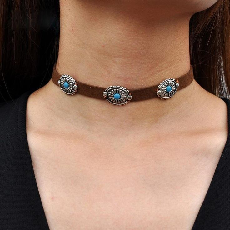 Concho Choker With Turquoise Centers On Vegan Tan Suede Necklace Boho Cowgirl…