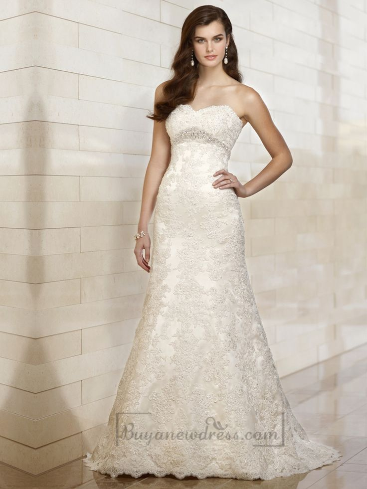 Sweetheart A-line Beading Lace Appliques Wedding Dresses with Beading Belt