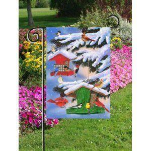 Snow Covered Winter Bird Feeders Mini Flag By Custom Décor, Inc.. Save 73