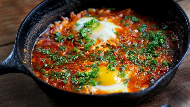 This Shakshouka recipe is a Tunisian dish of eggs poached in tomato sauce. Get the Kitchen Vignettes recipe at PBS Food.