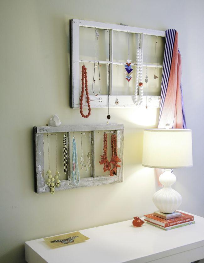 DIY: jewelry display from old windows