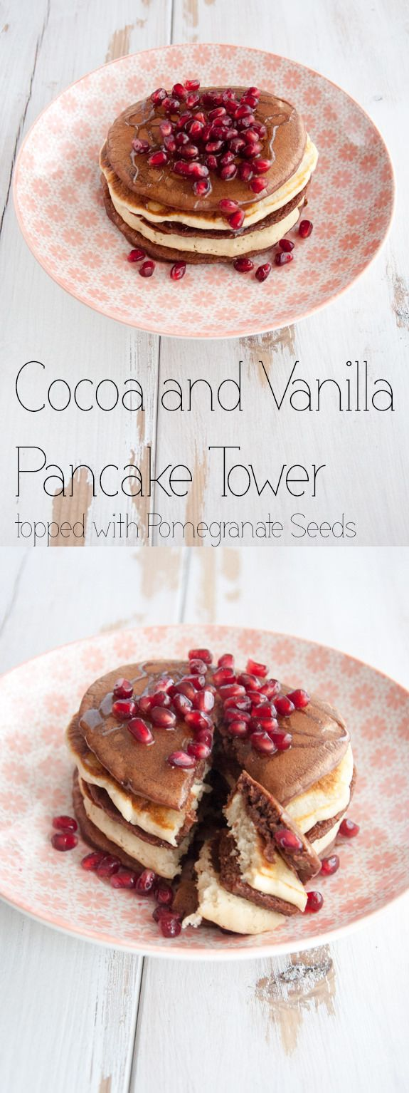 #vegan Cocoa and Vanilla Pancake Tower topped with Pomegranate Seeds and Rice Syrup