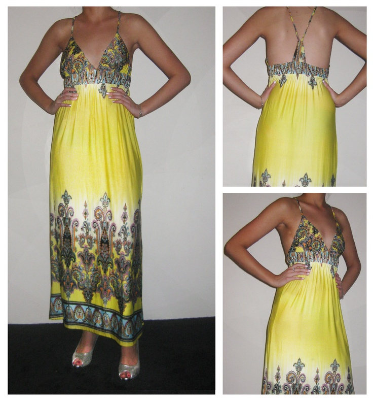Long yellow and white tinge dress with vintage print and v-back pencil straps.  Size: 12-14  Price: $39.95