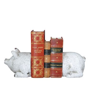 Love This Antique White Pig Bookends On #zulily! #zulilyfinds