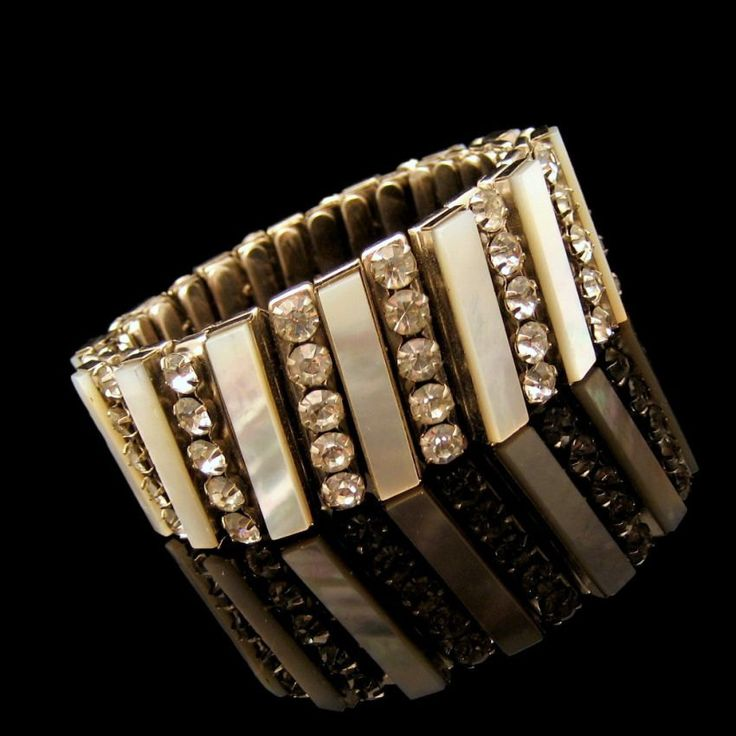 Mid Century Mother of Pearl Rhinestones Vintage Expansion Bracelet Prong Set Unique 5 Rows Wide Chunky #MyClassicJewelry