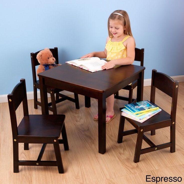 Kids Table Set 5 Piece 4 Chairs Home School Play Room Crafts Learning Espresso #KidKraft