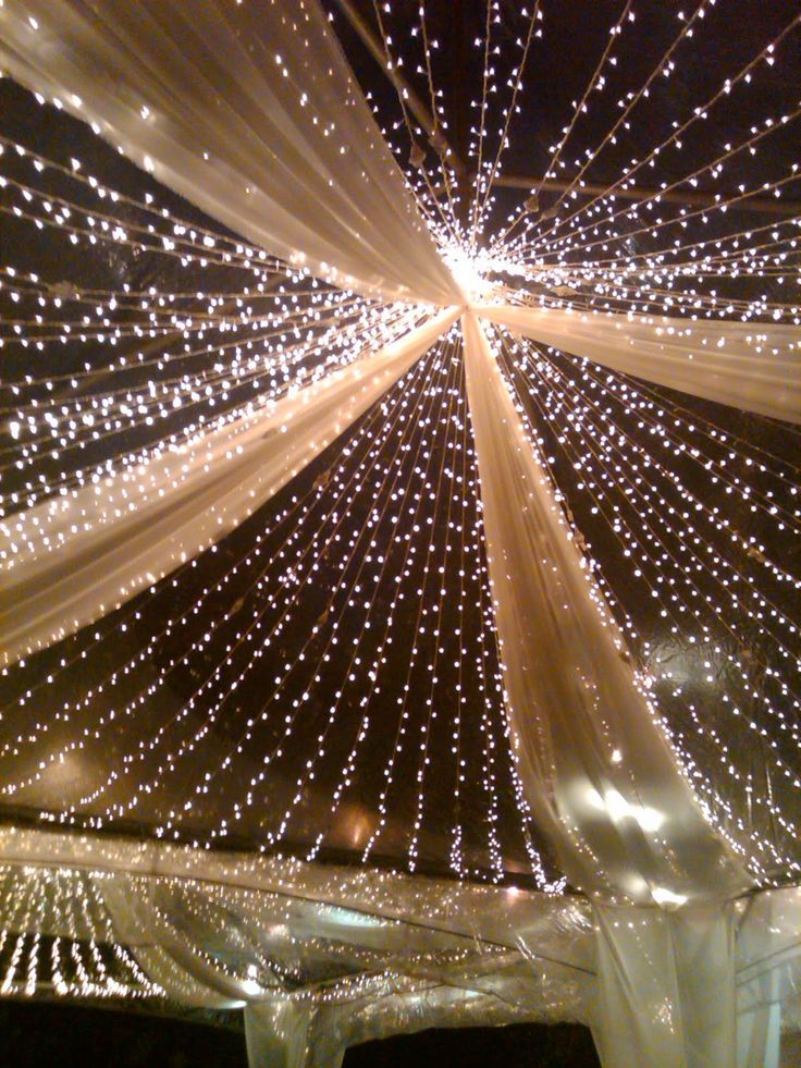 Here's an idea you can use for an out-of-the-world outdoor wedding: transparent tents, with lights and silver / gold streamers!