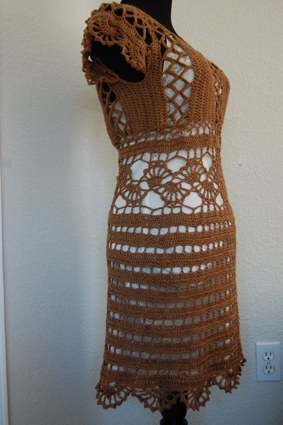Crochet Dress Cap Sleeve in Brown Cotton/Acrylic by LoyesThread