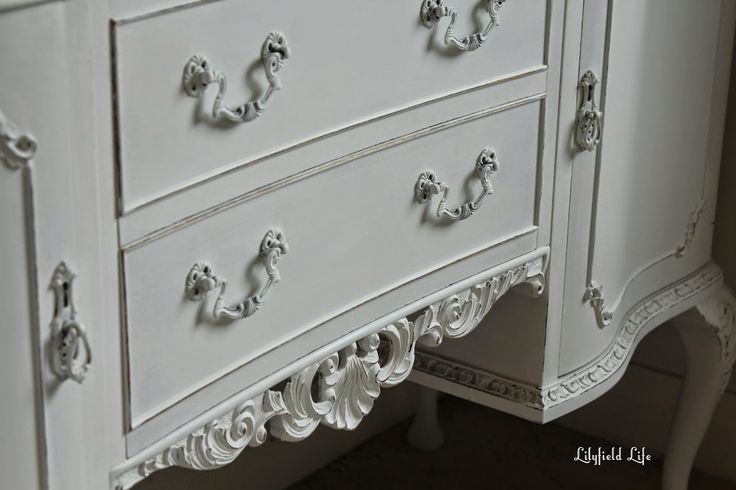 Using Porter's Paints Chalk Emulsion in colour 'Cornflour', Lilyfield Life transformed this unloved  French sideboard. Maintaining the elegance of form the sideboard has a chic new look!