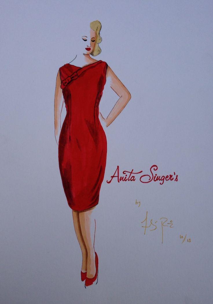 Ilustración Vestido Pilar Sanchez By Anita Singers. Por Andres Ruiz . https://www.facebook.com/pages/Anita-Singers/565541916806170#!/pages/Anita-Singers/565541916806170