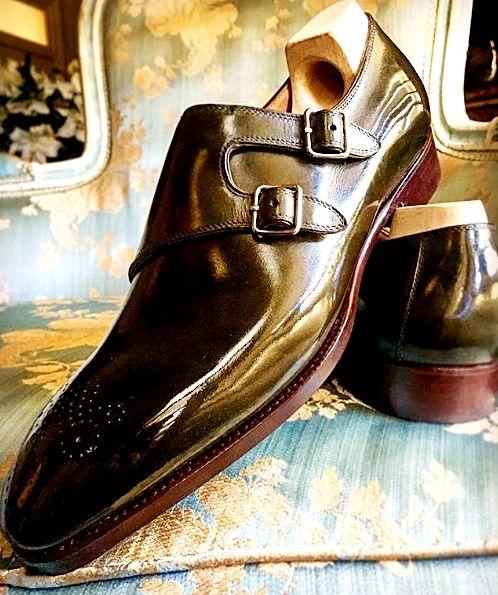 Men's Leather Double Monk Strap Shoes