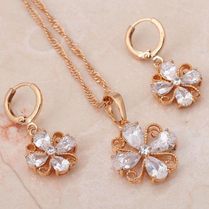 Марка дизайн Цветочный стиль ювелирные наборы Серьги и Ожерелье 18 К k позолоченные Циркон Кристалл Ювелирные Изделия Способа JS201A
