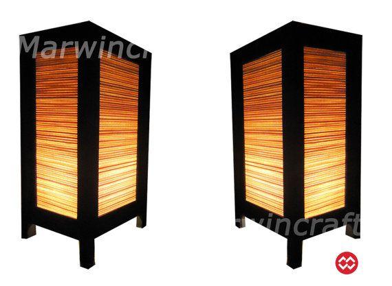 SALE 16%Off Set Of 2 Asian Oriental Design Bamboo Art Bedside