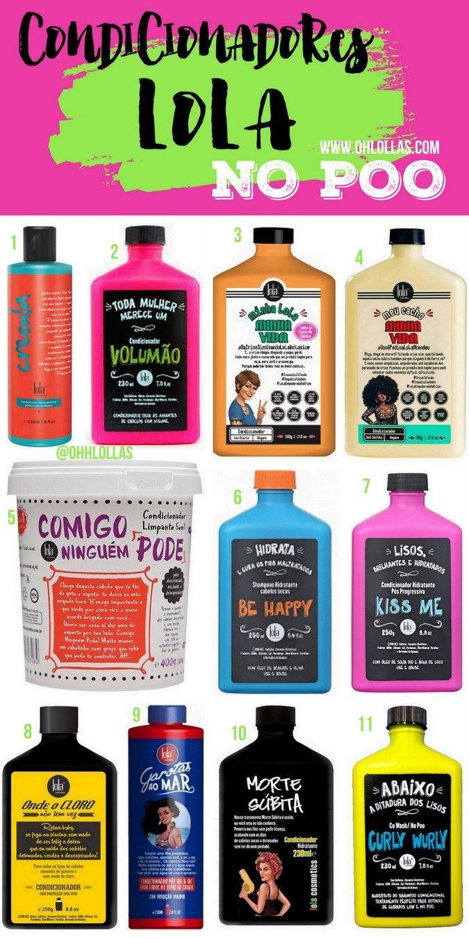 Lista de produtos liberados para no poo: condicionadores sem silicone e produtos específicos para co-wash. Lola Cosmetics @ohlollas