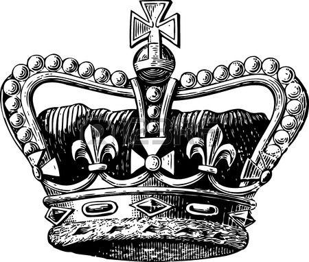 Gravure de cru d'une couronne royale avec diamants et signe de la croix et fleur…