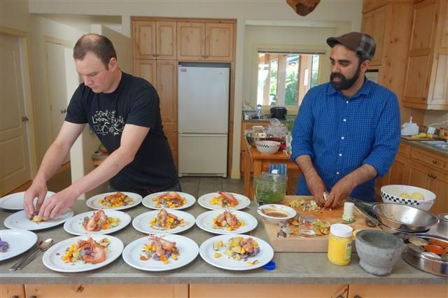 Tofino, BC – An Indian Cooking Class with Khalil Akhtar: Spot Prawns with Potato and Fruit Chaat Recipe