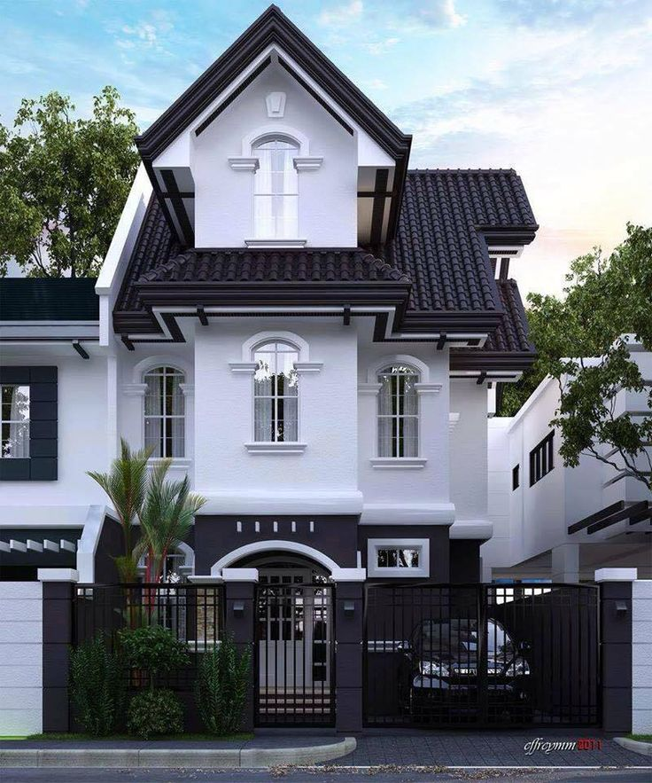 black and white house. modernized Victorian .