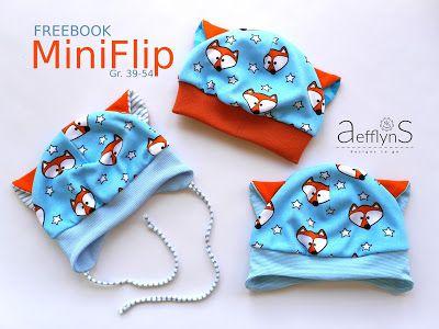 """Freebook """"MiniFlip"""" Anleitung und Schnittmúster für eine zuckersüße Mütze mit Ohren für Babys und Kinder Gr. 39 - 54KU (nähen)"""