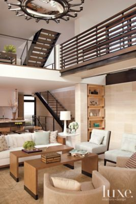 A glass #balcony overlooks a California home's #livingroom. See more at www.luxesource.com. #luxe #luxemag #luxury #design #interiordesign #interiors #home #house #dwelling #residential #decor #homedecor #interiordecorating #interiordesignideas #architecture #staircases