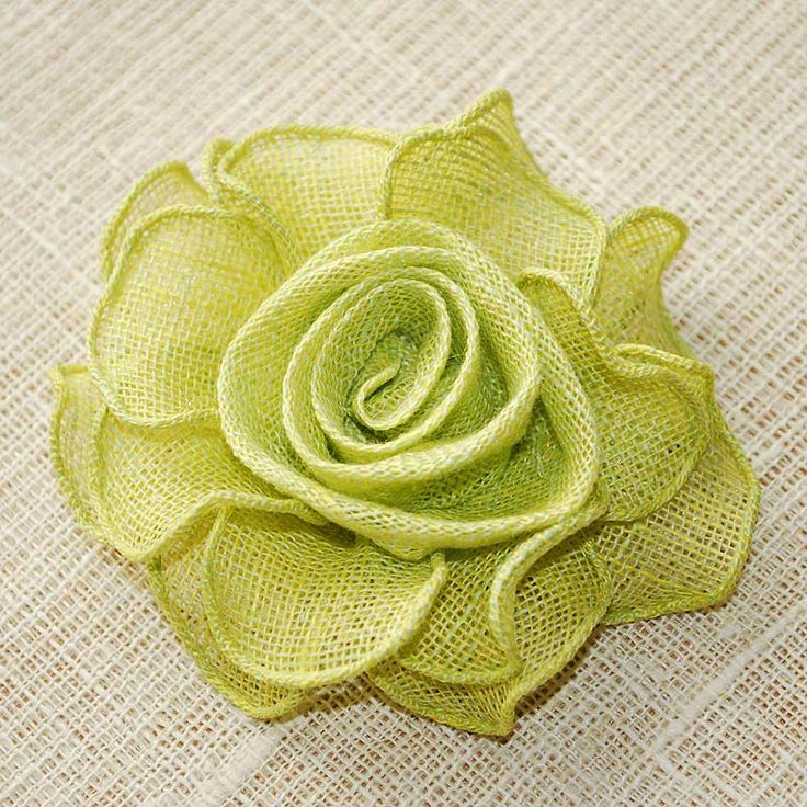 Linen Flower Hand Made Rose Greeny