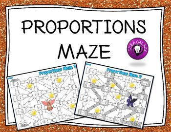 Proportions Maze activities is a set of two mazes  that adds fun to solving for x in proportions.  Students will love these proportions maze games. Reviews proportions represented as two fractions with an equals sign in the middle. Includes 2 mazes with 16 problems each.