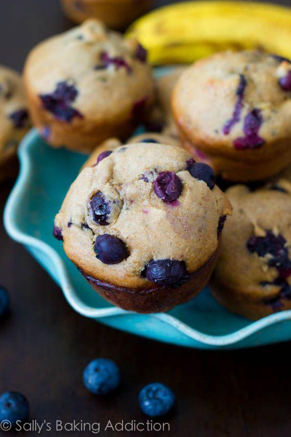 Skinny Banana Blueberry Muffins - only 131 calories each by sallysbakingaddiction.com @Sally M. [Sally's Baking Addiction]