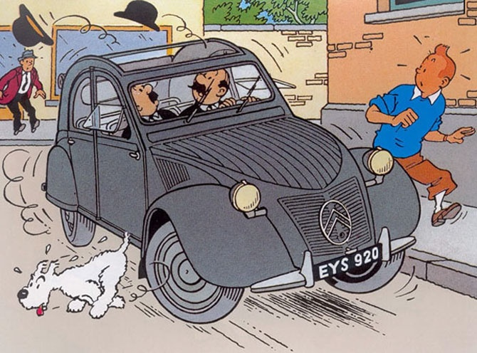 Tintin and 2CV. Côte d'or (Chocolate) ads. The beloved car is a cultural icon in France and the world.