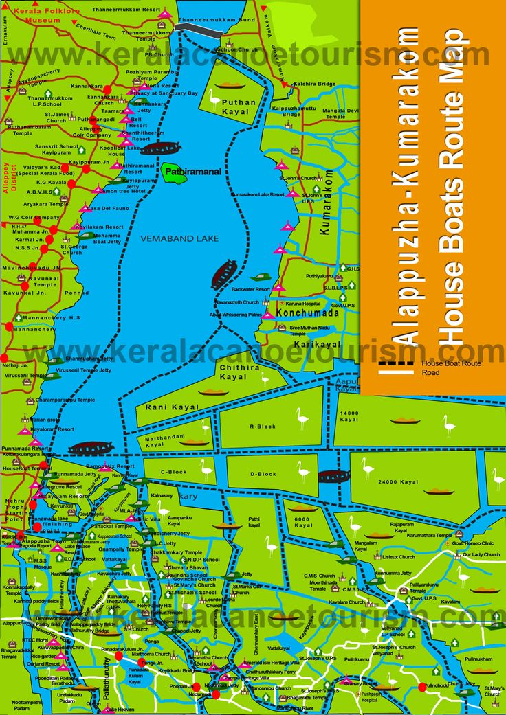 Alleppey boat route Map