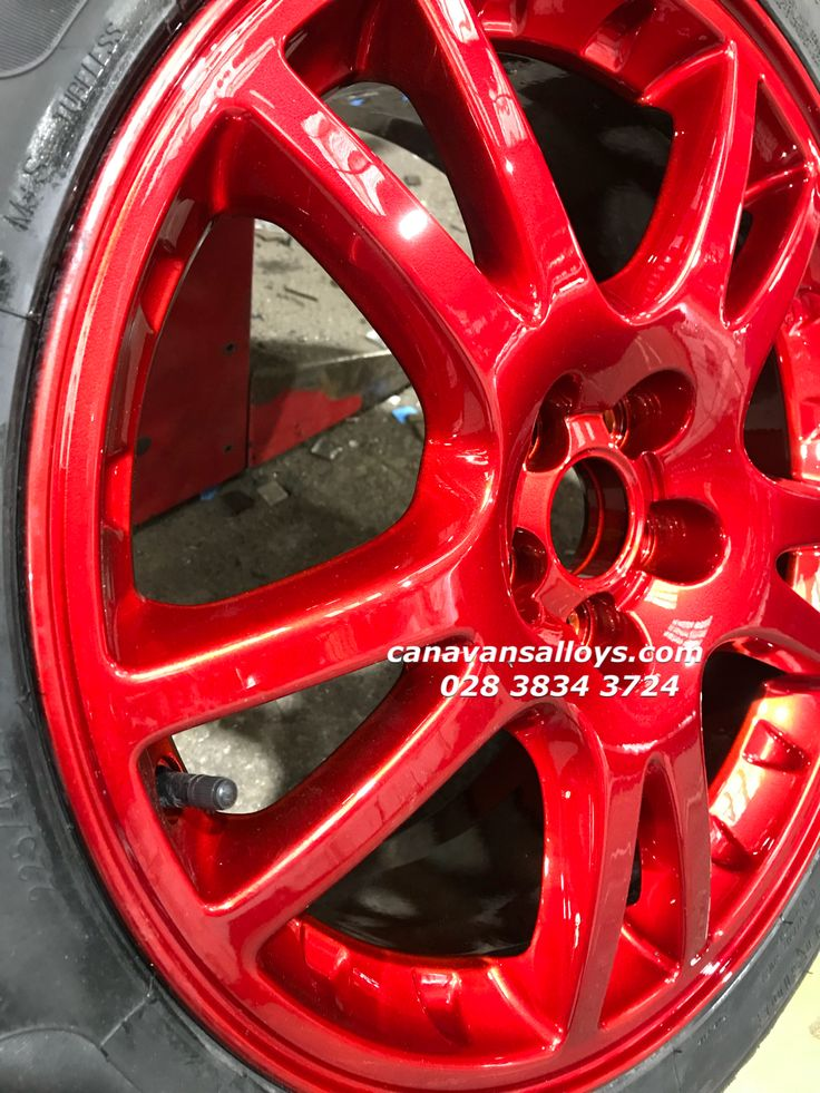When only candy red will do. Classic Subaru alloys refurbished and refinished in candy red.  From crusty and corroded to a picture gorgeousness.  Who wants some for the summer as it's just around the corner you know! 028 3834 3724.