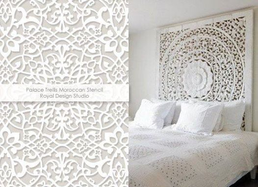 LOVE carved wood headboards? GET THE LOOK by stenciling on wood or even right onto the wall behind the bed! Use Royal Design Studio wall stencils!