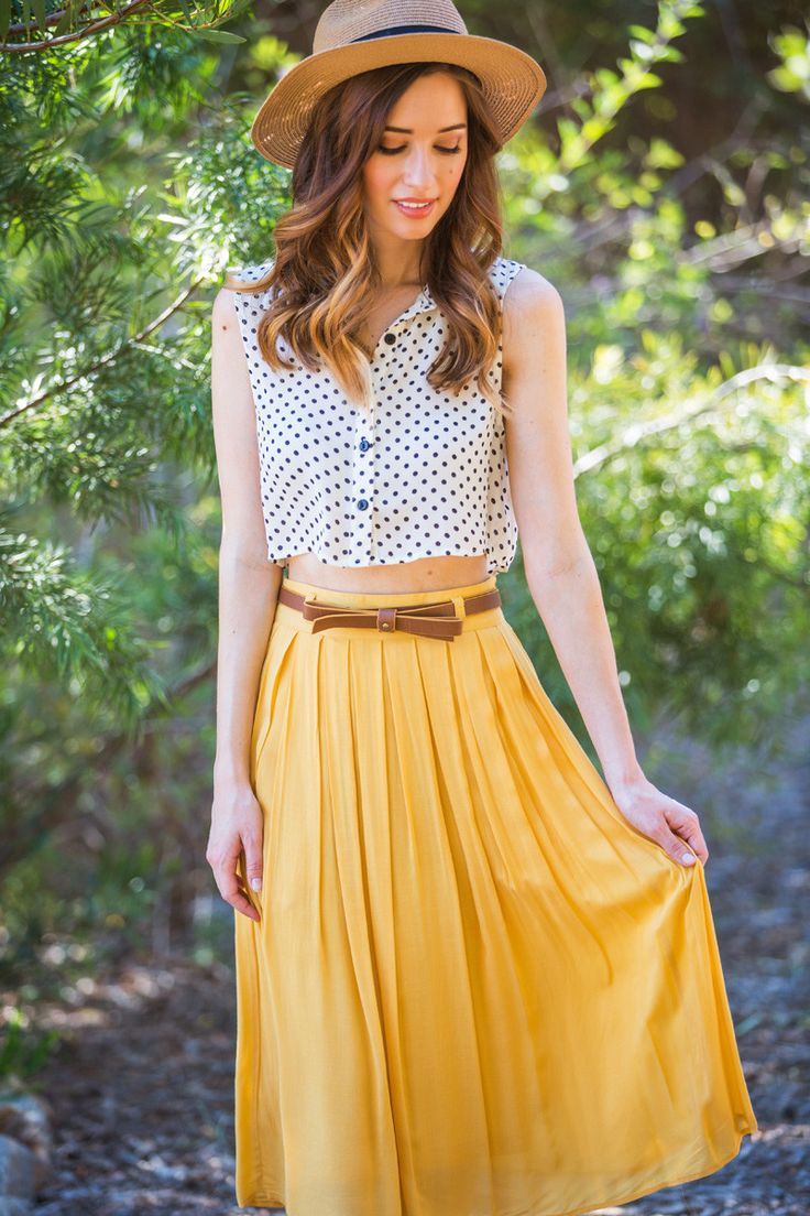 Kaitlyn Yellow Pleated Midi Skirt