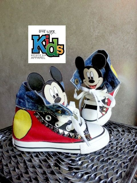 GIRLS AND BOYS LOVE THESE CUSTOM MICKEY MOUSE CONVERSE...ALSO AVAILABLE IN MINNIE MOUSE! PERFECT FOR BIRTHDAYS, PAGEANTS, PHOTO SHOOTS, DANCE TEAMS,