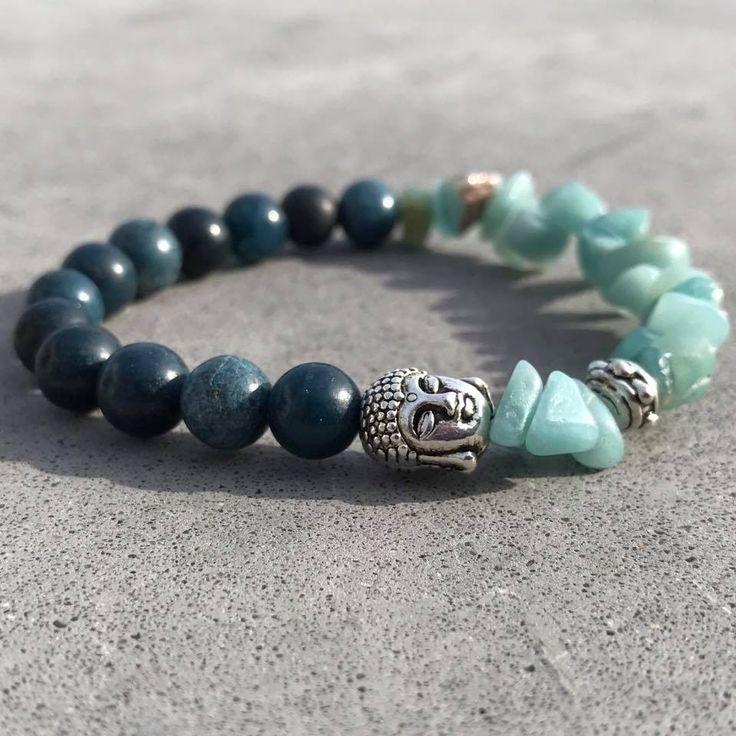 Buddha Armband om elastiek Lapiz Lazuli  Amazoniet
