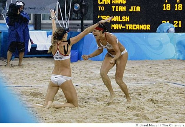 Misty May and Kerri Walsh celebrate their gold medal victory at the 2008 Beijing Summer Olympics