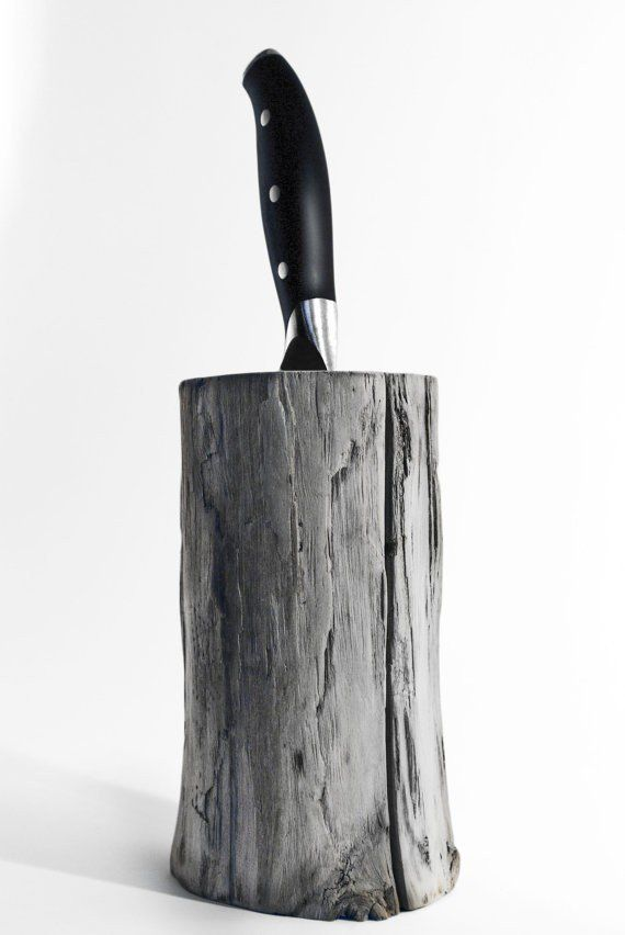 Driftwood knife Block. Kitchen centerpiece. Scandinavian design. Modern knife Block via A Viking Design. Click on the image to see more!