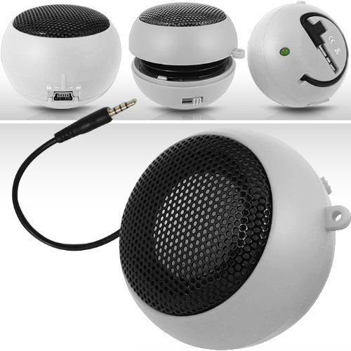 N4U Online Online White Super Sound Rechargeable Mini Pocket Size Portable Speaker 35mm Audio Jack Built In With Usb Charger Lead Suitable For Alcatel Ot991 *** Details can be found by clicking on the image.