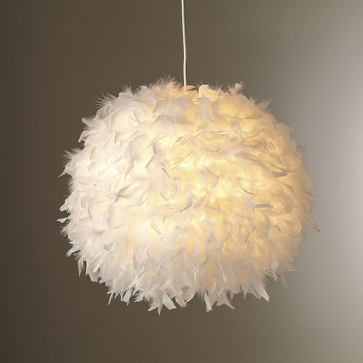 Suspension boule en plumes non lectrifi blanc kokot for Suspension luminaire blanc