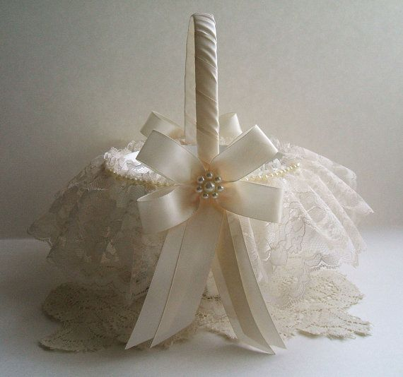 This listing is for a Pearl Cluster Satin Flowergirl Basket. You can have your choice of two sizes in white or ivory.  SMALL/MINI for very