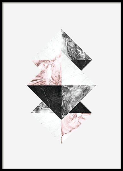 Graphic art-Plakat mit Dreiecken auf hellgrauem Hintergrund. Das Marmormotiv wertet jede Einrichtung auf. Dieses Poster kann sowohl im Hoch- als auch im Querformat verwendet werden. Es kann zudem mit unseren anderen grafischen Postern und Plakaten aus der gleichen Serie zu einer tollen Bilderwand kombiniert werden. www.desenio.de